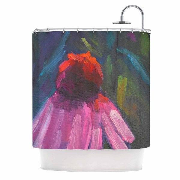 KESS InHouse Carol Schiff Shady Coneflower  Pink Red Shower Curtain (69x70)