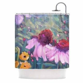 KESS InHouse Carol Schiff Woodland Fantasy Green Pink Shower Curtain (69x70)