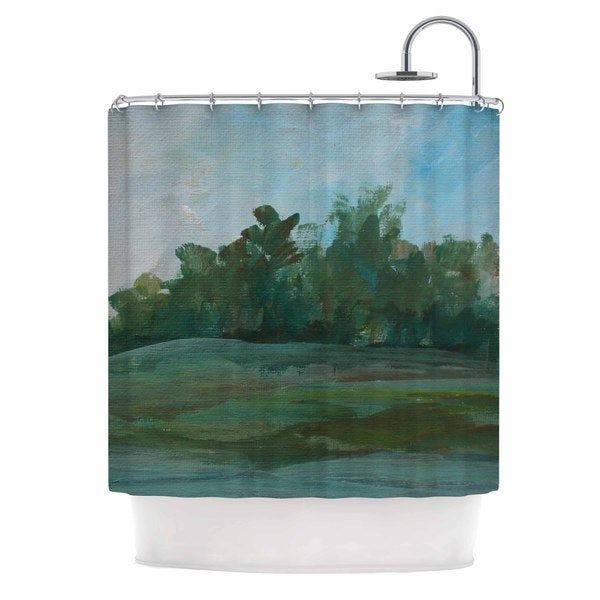 KESS InHouse Cyndi Steen Stand Of Trees Green Blue Shower Curtain (69x70)