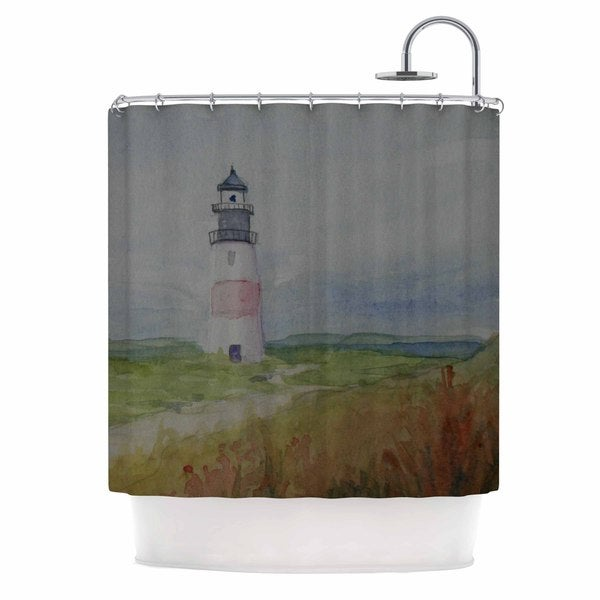 KESS InHouse Cyndi Steen Sankaty Lighthouse Blue Green Shower Curtain (69x70)