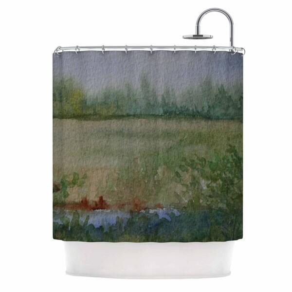 KESS InHouse Cyndi Steen Land That I Love Green Blue Shower Curtain (69x70)