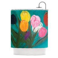 KESS InHouse Christen Treat Tulips Rainbow Flower Shower Curtain (69x70)
