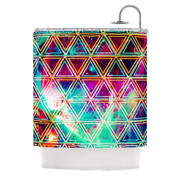 KESS InHouse Alveron Neon Geo Galaxy Rainbow Shower Curtain (69x70)