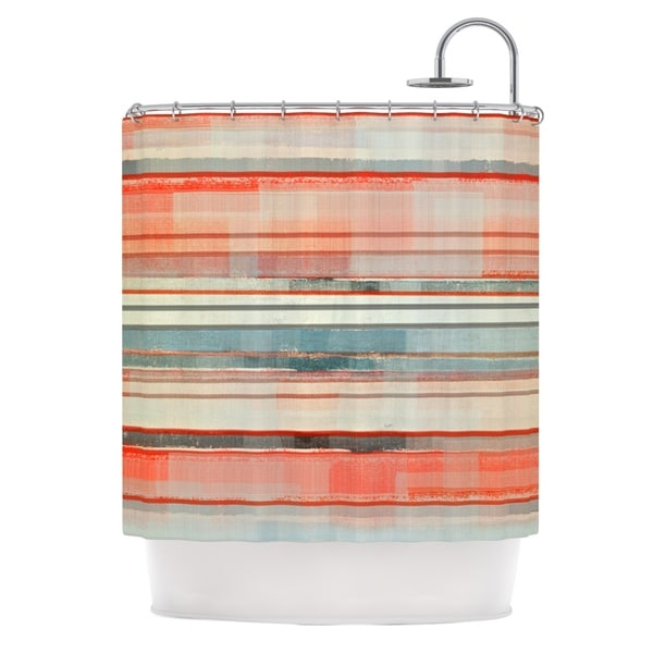 KESS InHouse CarolLynn Tice Patton Orange Teal Shower Curtain (69x70)