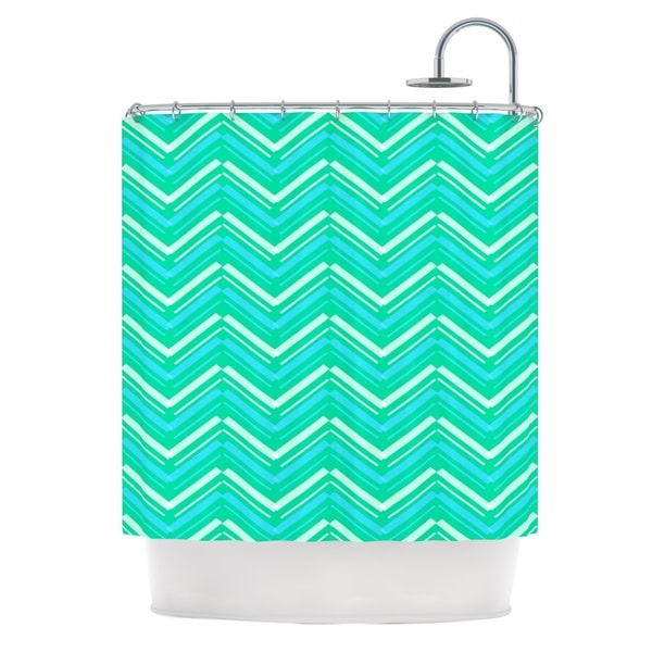 KESS InHouse CarolLynn Tice Symetrical Teal Turquoise Shower Curtain (69x70)