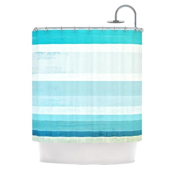 KESS InHouse CarolLynn Tice Waves Blue Aqua Shower Curtain (69x70)