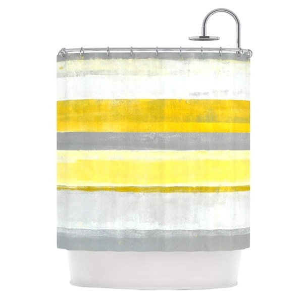 KESS InHouse CarolLynn Tice Lemon Yellow Gray Shower Curtain (69x70)