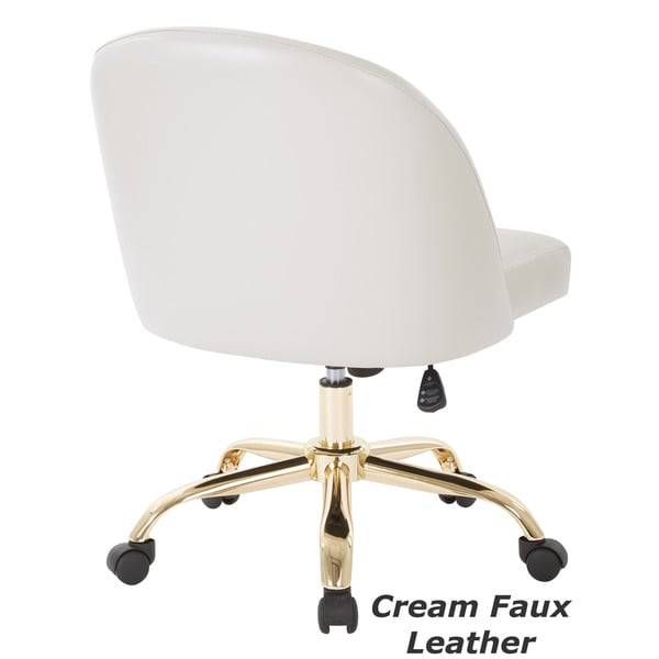 Ave Six Layton Mid Back Office Chair With Gold Base Free - Cream desk chair