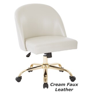 Ave Six Layton Mid Back Office Chair with Gold Base (Option: Cream Faux Leather)