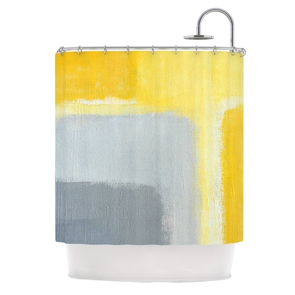 KESS InHouse CarolLynn Tice Inspired Grey Yellow Shower Curtain 69x70