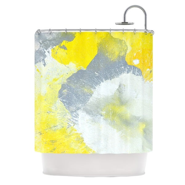 Shop KESS InHouse CarolLynn Tice Make A Mess Yellow Gray Shower Curtain 69x70