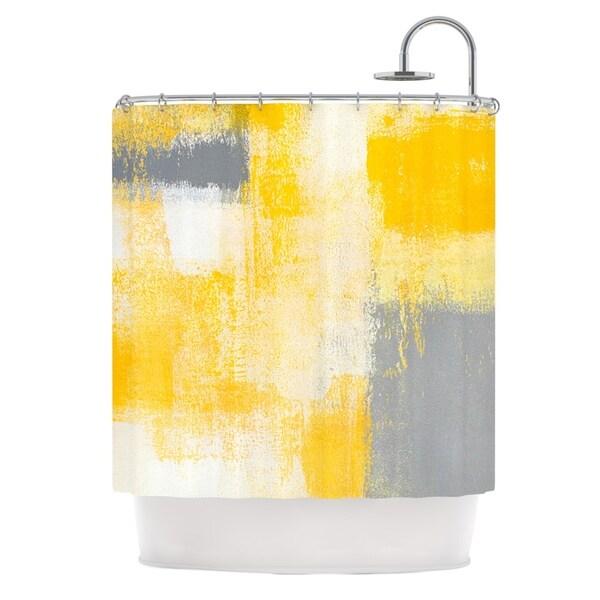KESS InHouse CarolLynn Tice Breakfast Grey Gold Shower Curtain (69x70)
