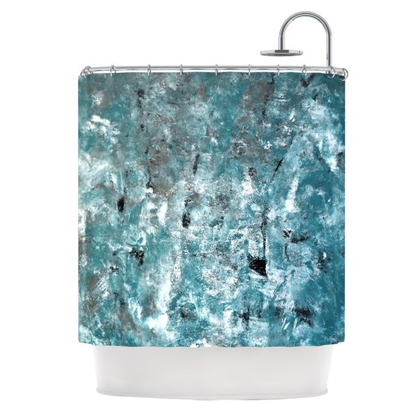 KESS InHouse CarolLynn Tice Shuffling Teal Blue Shower Curtain (69x70)