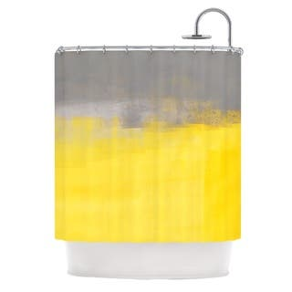 KESS InHouse CarolLynn Tice A Simple Abstract Yellow Gray Shower Curtain 69x70