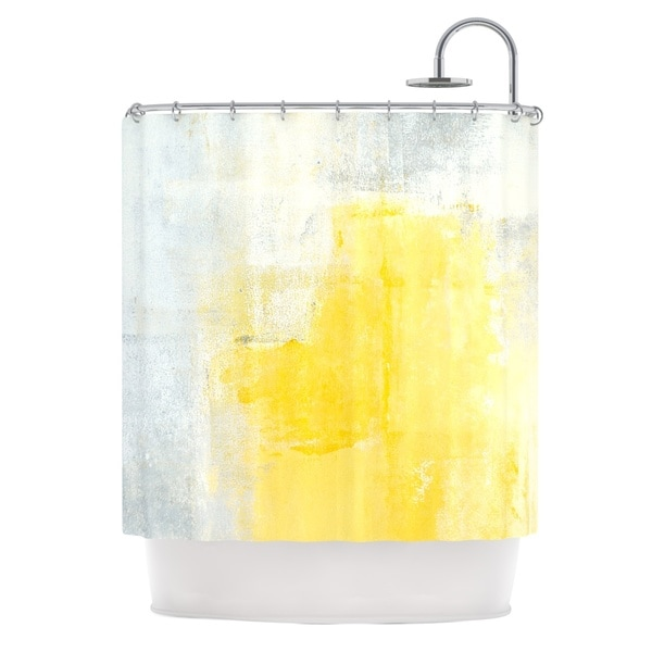 KESS InHouse CarolLynn Tice Stability Yellow White Shower Curtain (69x70)