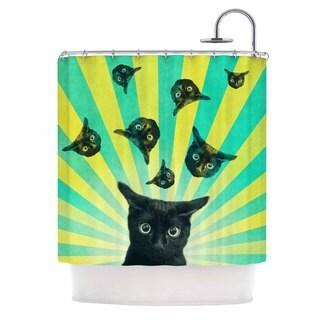 KESS InHouse Cvetelina Todorova Cat Explosion Yellow Green Shower Curtain (69x70)