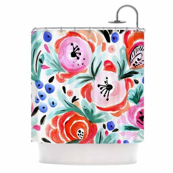 KESS InHouse Crystal Walen Boho Morning Glory Pink Orange Shower Curtain (69x70)