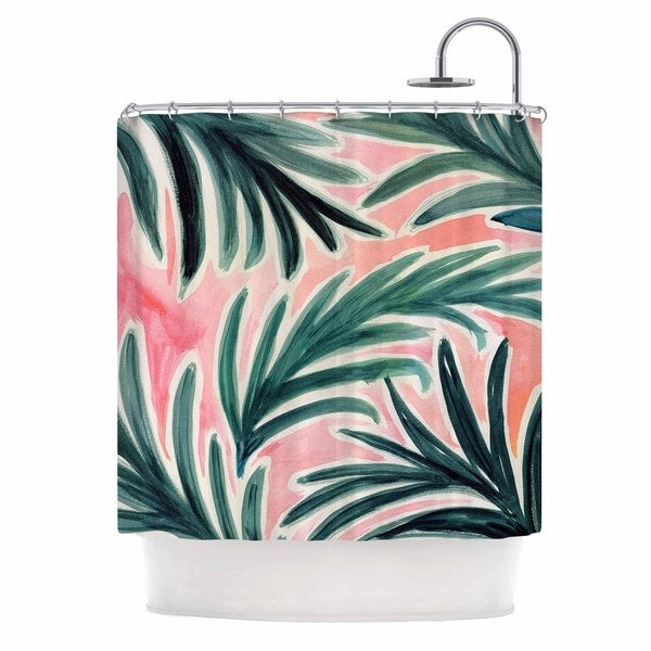 KESS InHouse Crystal Walen Lush Palm Leaves  Green Pink Shower Curtain (69x70)