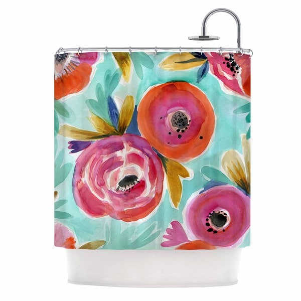 KESS InHouse Crystal Walen Celestial Rain Flower Teal Red Shower Curtain (69x70)