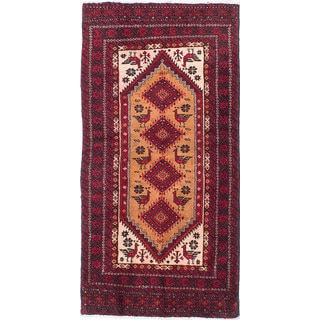 eCarpetGallery Finest Baluch Brown/Red Hand-knotted Wool Rug (3'7 x 7'1)