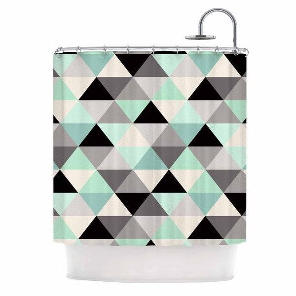 KESS InHouse Crystal Walen Triangle Geo Mint  Teeal Black Shower Curtain (69x70)