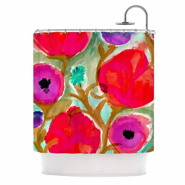 KESS InHouse Crystal Walen Fiona Flower  Purple Red Shower Curtain (69x70)