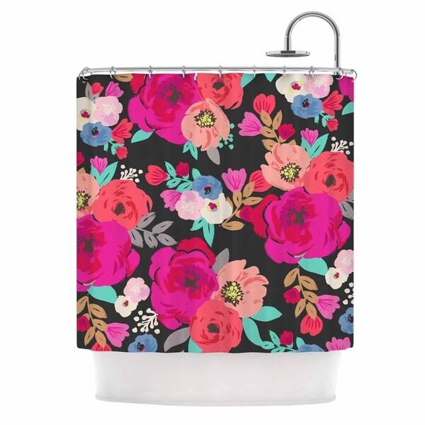 KESS InHouse Crystal Walen Sweet Pea - Black Floral Shower Curtain (69x70)
