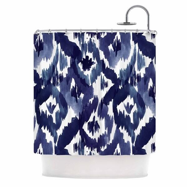 KESS InHouse Crystal Walen Indigo Ikat - Blue Diamond Shower Curtain (69x70)