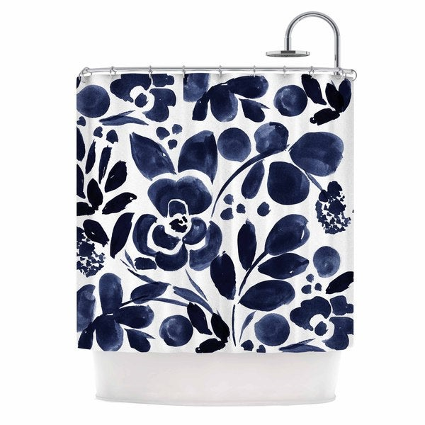 KESS InHouse Crystal Walen Watercolor Floral - Navy Painting Shower Curtain (69x70)
