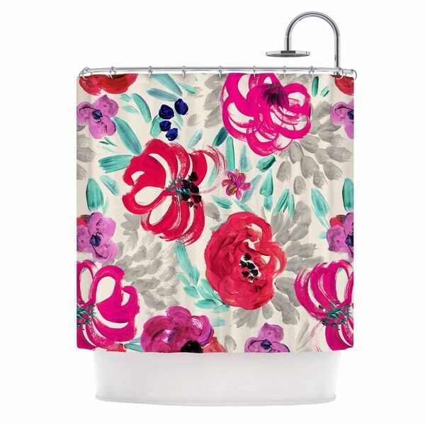KESS InHouse Crystal Walen Mona Brush Stroke - Floral Painting Shower Curtain (69x70)