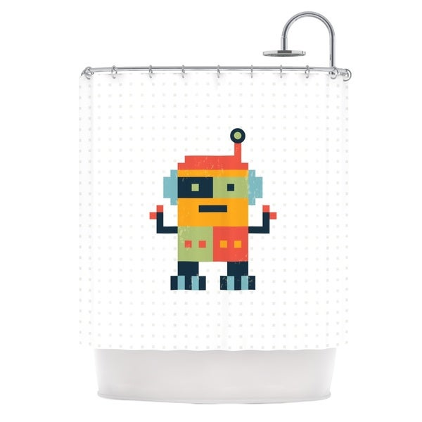 KESS InHouse Daisy Beatrice Happy Robot Multicolor Shower Curtain (69x70)