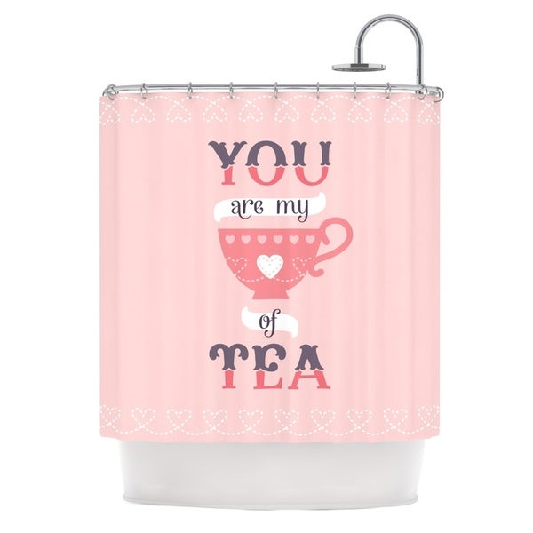 KESS InHouse Daisy Beatrice My Cup of Tea Pink Purple Shower Curtain (69x70)