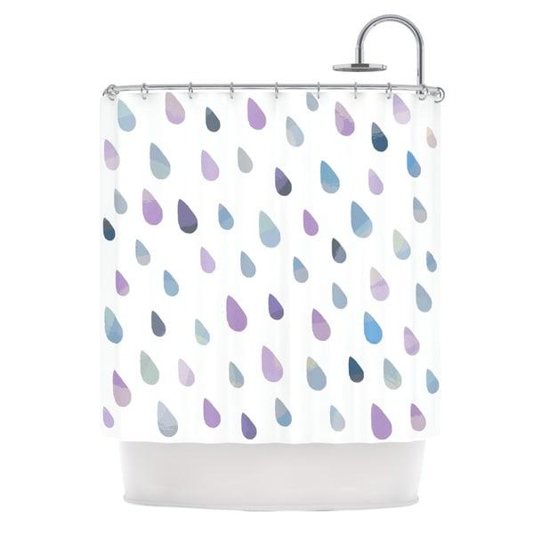 KESS InHouse Daisy Beatrice Opal Drops - Mist Purple White Shower Curtain (69x70)