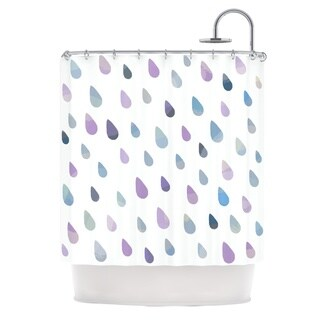KESS InHouse Daisy Beatrice Opal Drops - Mist Purple White Shower Curtain (69x70)