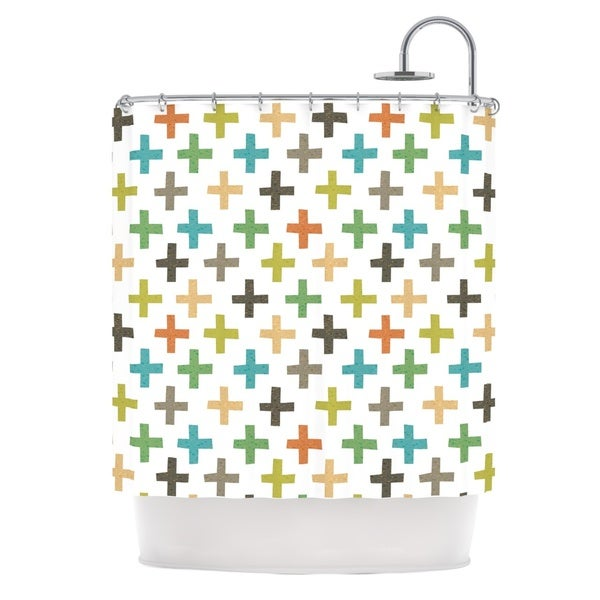 KESS InHouse Daisy Beatrice Hipster Crosses Repeat Multicolor Shower Curtain (69x70)