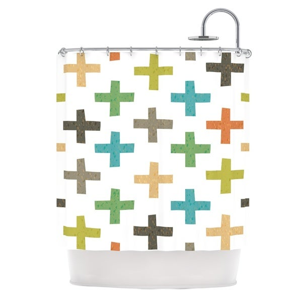 KESS InHouse Daisy Beatrice Hipster Crosses Multicolor Shower Curtain (69x70)