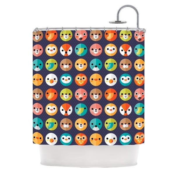 KESS InHouse Daisy Beatrice Smiley Faces Repeat Animal Pattern Shower Curtain (69x70)