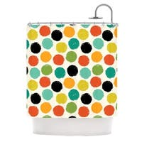 KESS InHouse Daisy Beatrice Retro Dots Repeat Multicolor Shower Curtain (69x70)