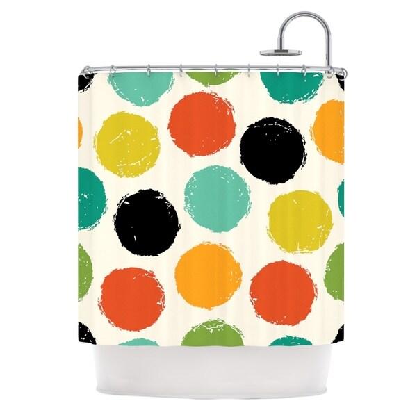KESS InHouse Daisy Beatrice Retro Dots Circles Shower Curtain (69x70)