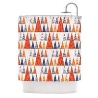 KESS InHouse Daisy Beatrice Tepee Town Red White Shower Curtain (69x70)