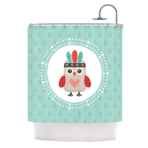 KESS InHouse Daisy Beatrice Hipster Owlet Mint Coral Teal Shower Curtain (69x70)