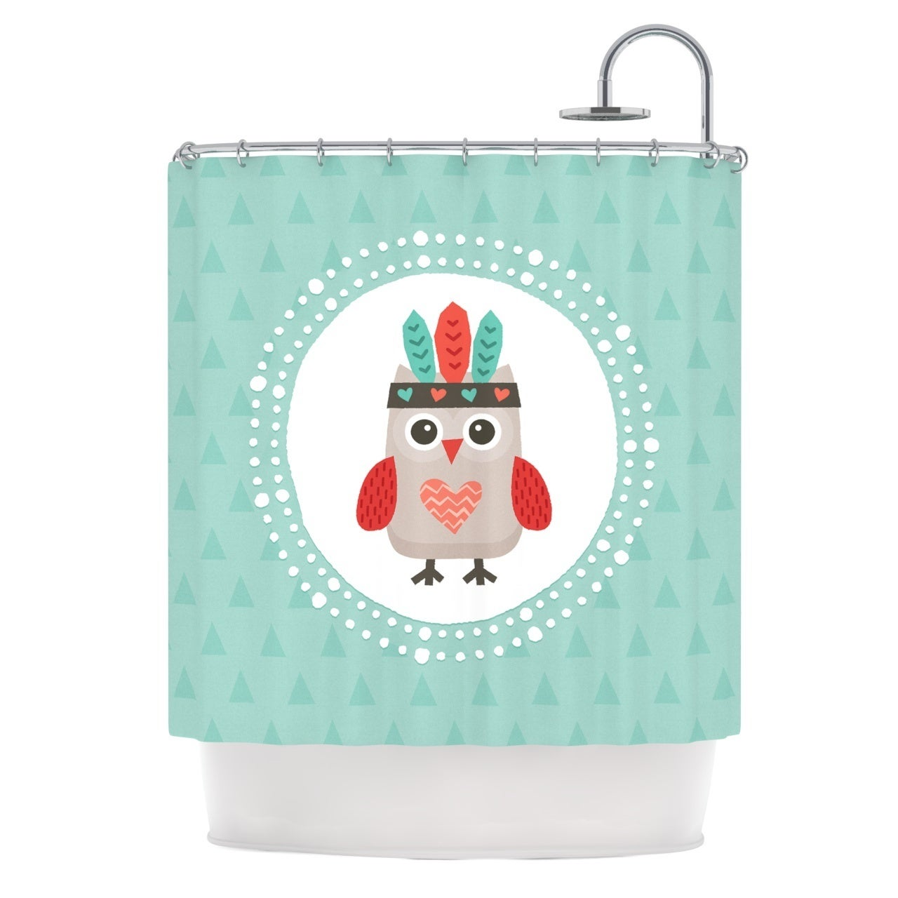 Kess InHouse Daisy Beatrice Hipster Owlet Mint Coral Teal...