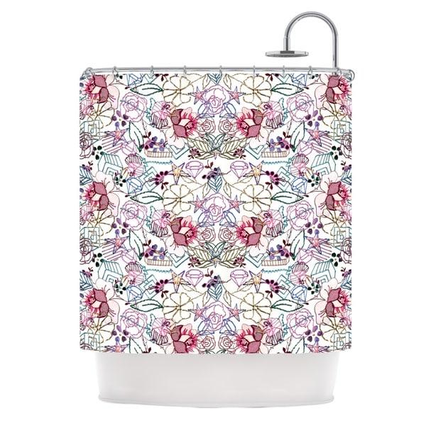 KESS InHouse DLKG Design Cool Stitch White Blush Shower Curtain (69x70)