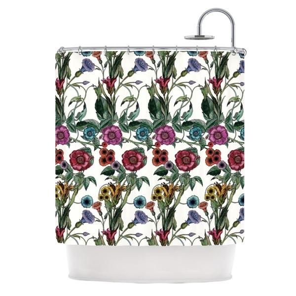 KESS InHouse DLKG Design Margaret White Green Shower Curtain (69x70)