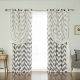 Aurora Home MIX U0026 MATCH CURTAINS Chevron Print And Tulle Lace Sheer 84 Inch  Room Part 95