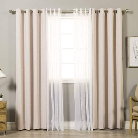 Aurora Home Mix & Match Diagonal Stripe and Voile Sheer 4 Piece Curtain Panel Set - 52 x 84