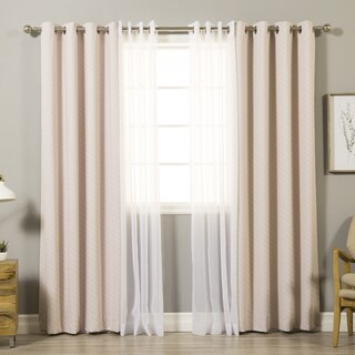 Aurora Home Mix & Match Diagonal Stripe and Voile Sheer 4 Piece Curtain Panel Set - 52 x 84