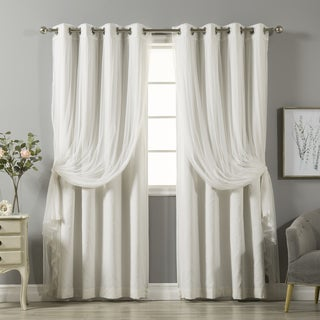 Aurora Home Mix&Match Cotton Blackout&Tulle Sheer 4 Pcs Curtain Set - 52 x 84