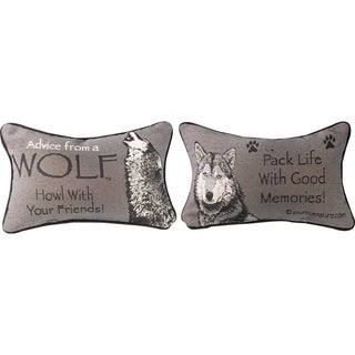 Manual Woodworkers ADVICE FROM A WOLF MULTI COLOR WORD Throw Pillow