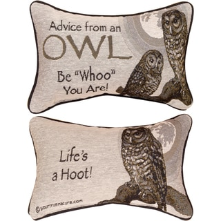 Manual Woodworkers ADVICE FROM A OWL MULTI COLOR WORD Throw Pillow